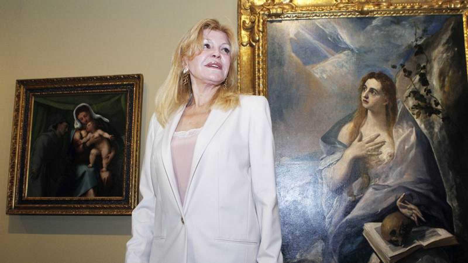 Carmen Thyssen, ante el cuadro 'La Magdalena Penitente', de El Greco, durante la presentación h de la exposición 'Obras maestras de Budapest'.