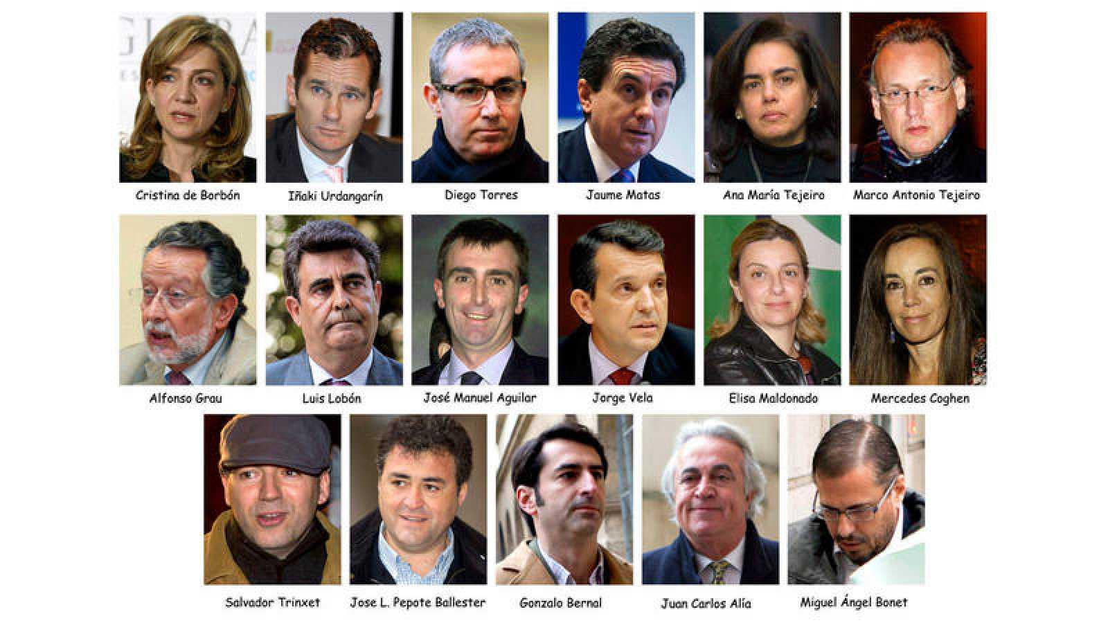 Combo que muestra a los 17 acusados del 'caso Nóos'.