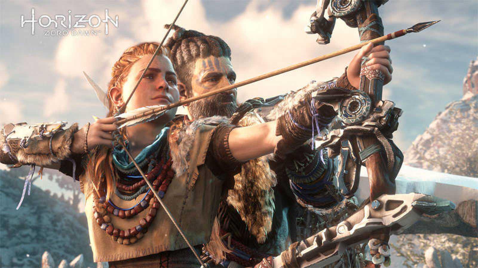 Aloy, heroína de 'Horizon Zero Dawn', acompañada de su mentor Rost.