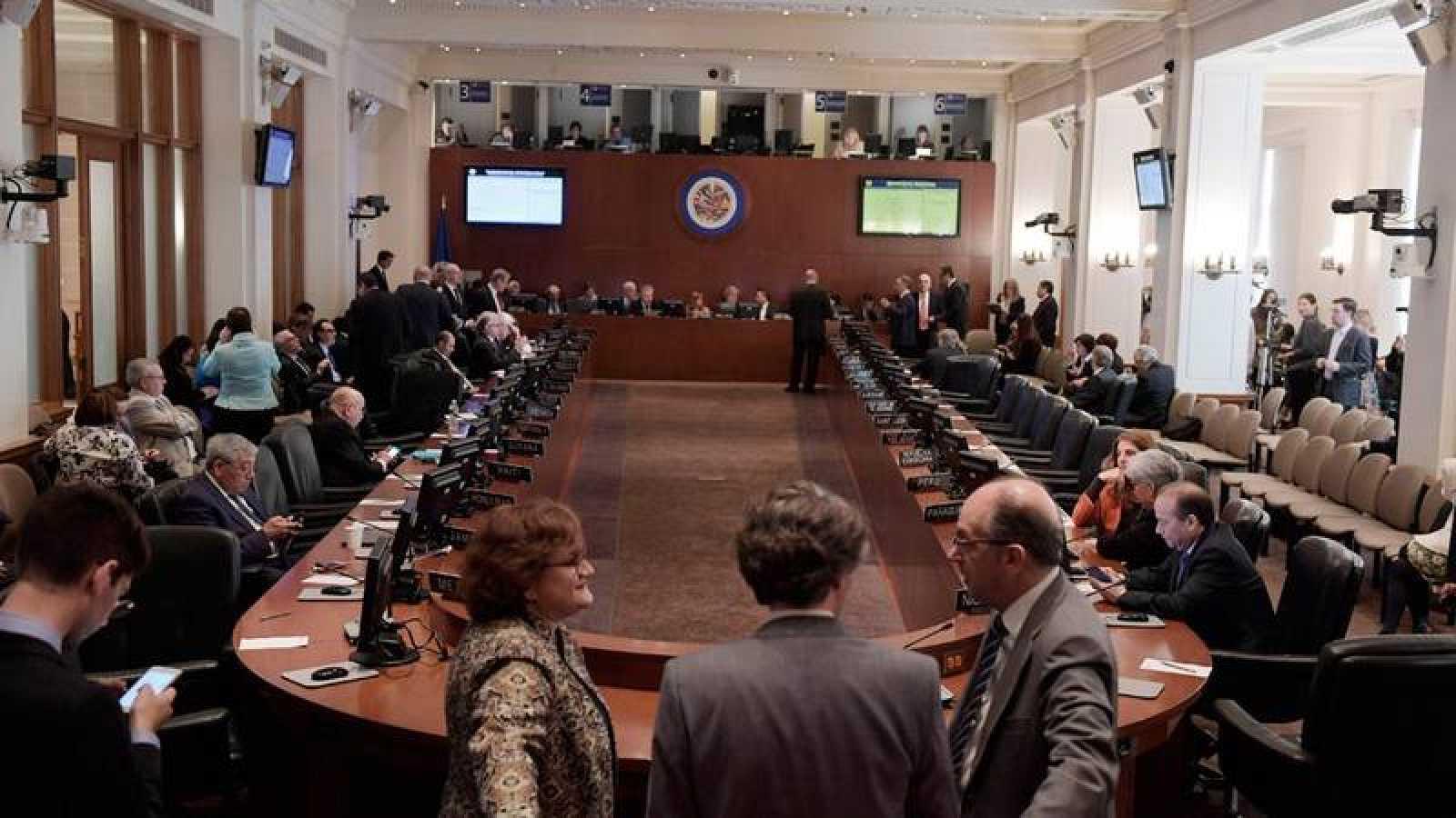 Vista del Consejo Permanente de la OEA este lunes