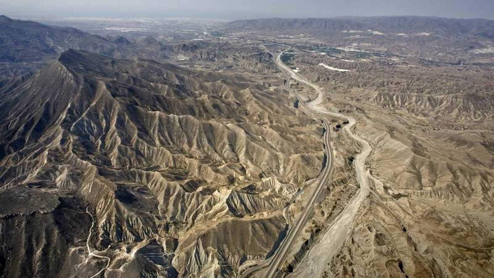 Vista aérea del desierto de Tabernas (Almería).