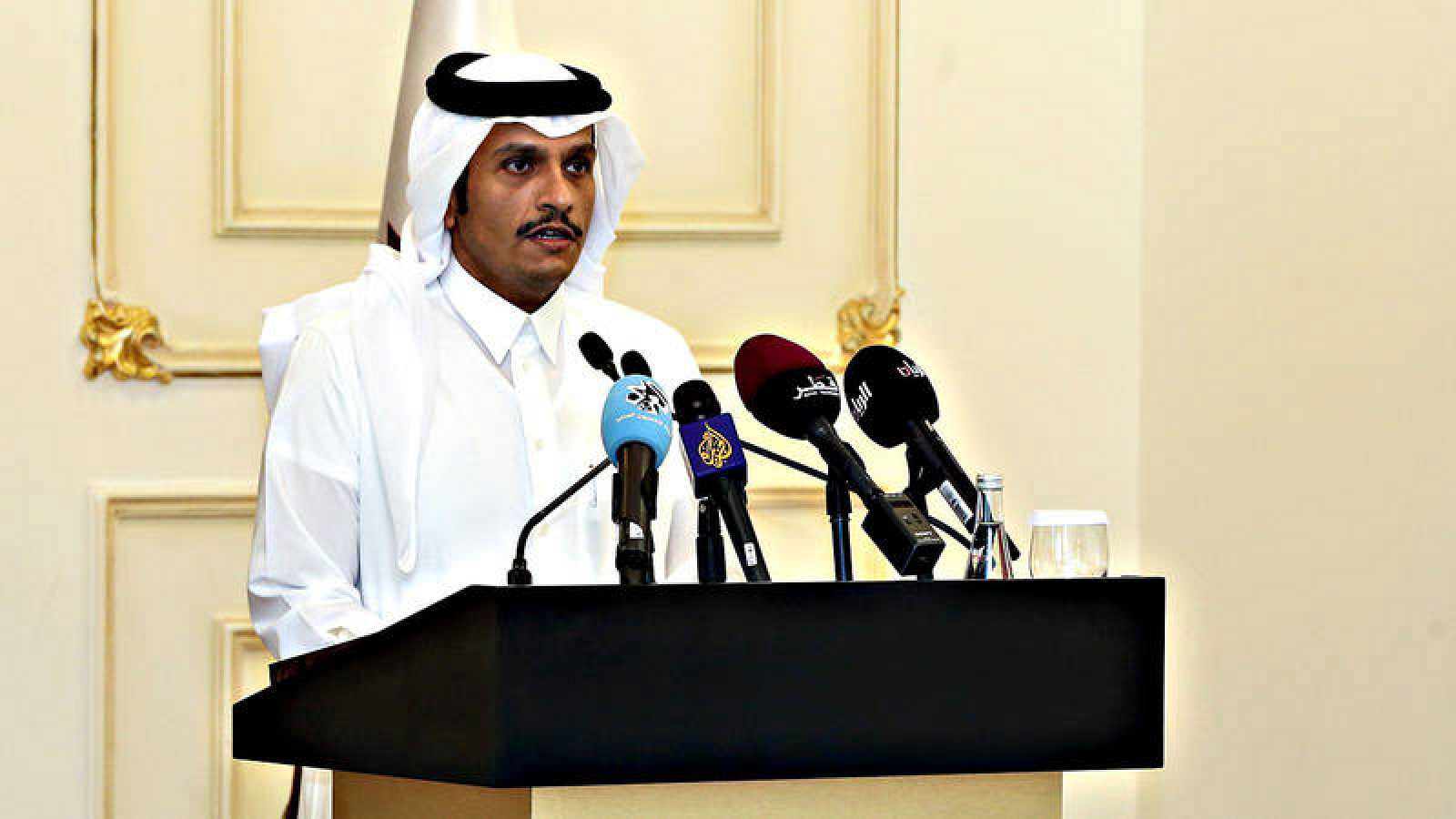 El ministro catarí de Exteriores, Mohammed bin Abdulrahman al-Thani. en una rueda de prensa