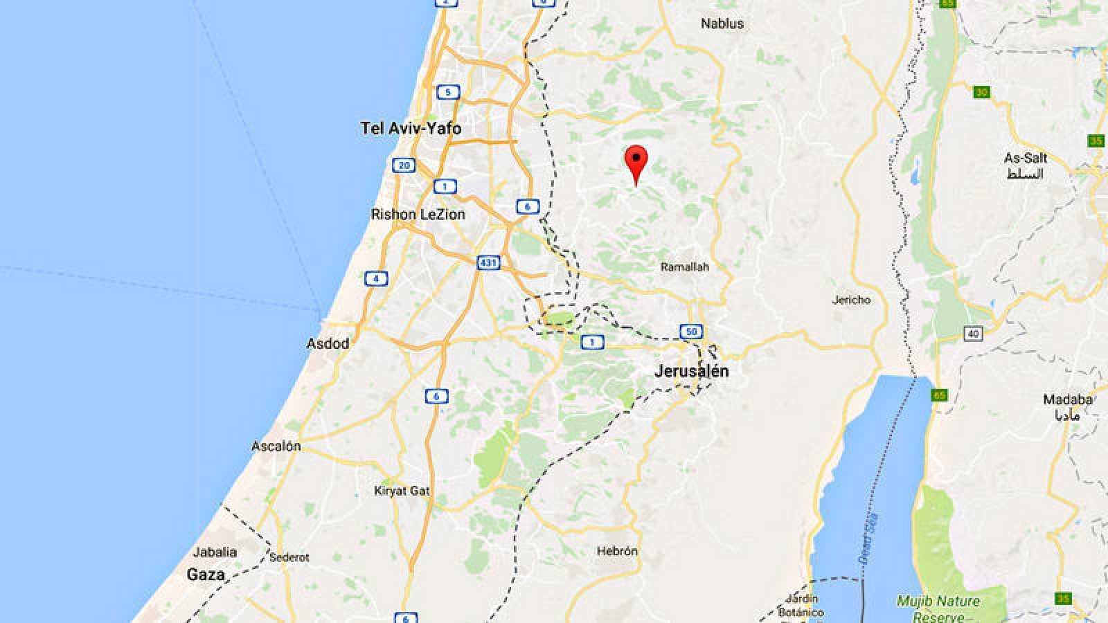 Ubicación del asentamiento israelí de Neve Tsuf o Halamish, al noroeste de Ramala, en el Cisjordania ocupada