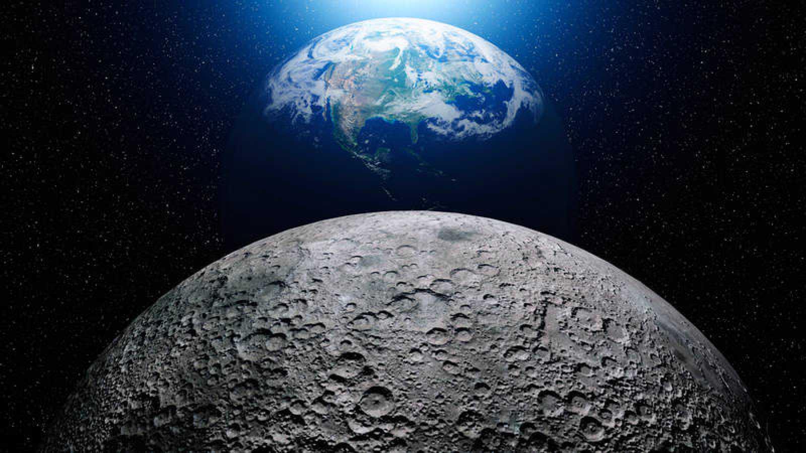 La Tierra vista desde la superficie de la Luna.