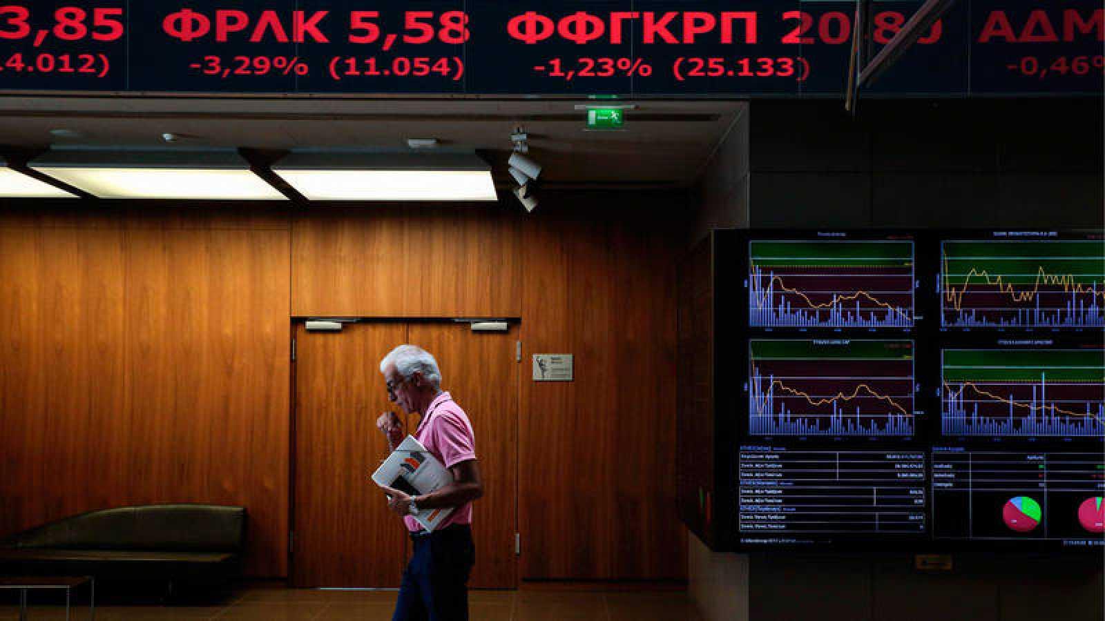 Interior de la Bolsa de Atenas