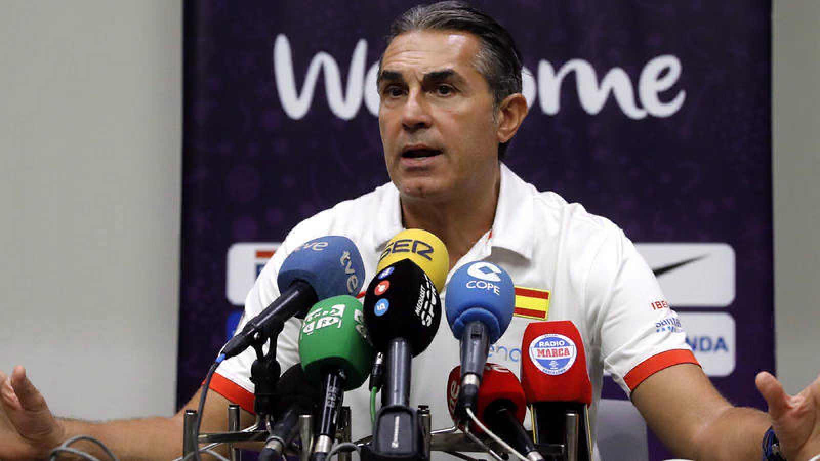 El seleccionador nacional de Baloncesto Sergio Scariolo, durante la rueda de prensa.