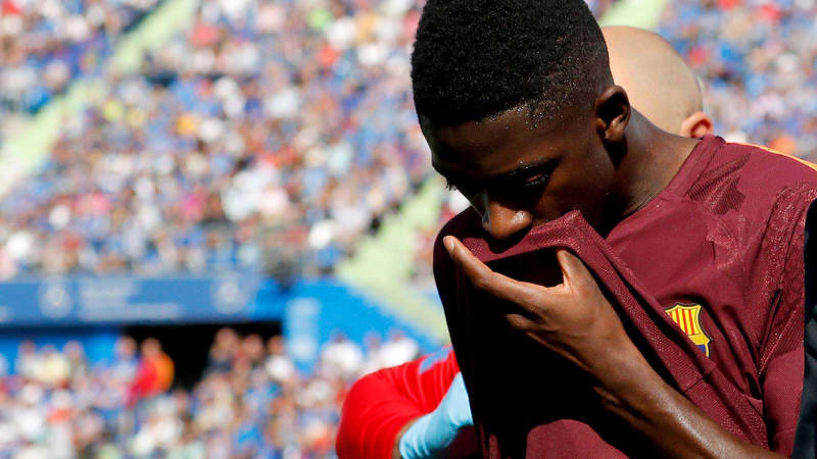 Dembélé, tras lesionarse en el partido contra el Getafe.