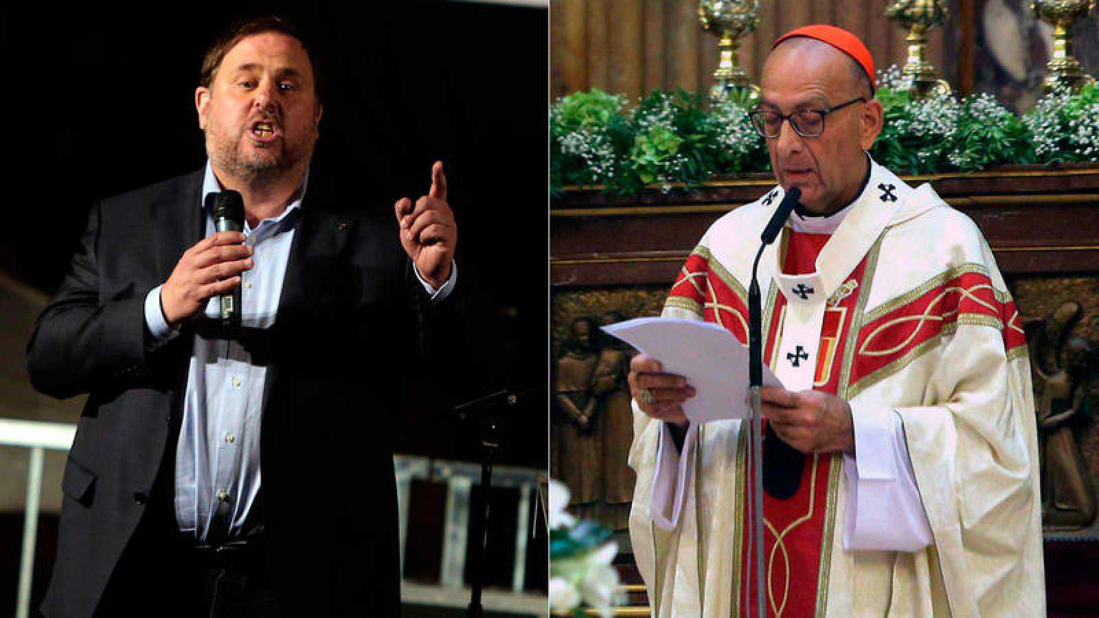 El vicepresidente de la Generalitat, Oriol Junqueras, y el cardenal arzobispo de Madrid, Juan José Omella