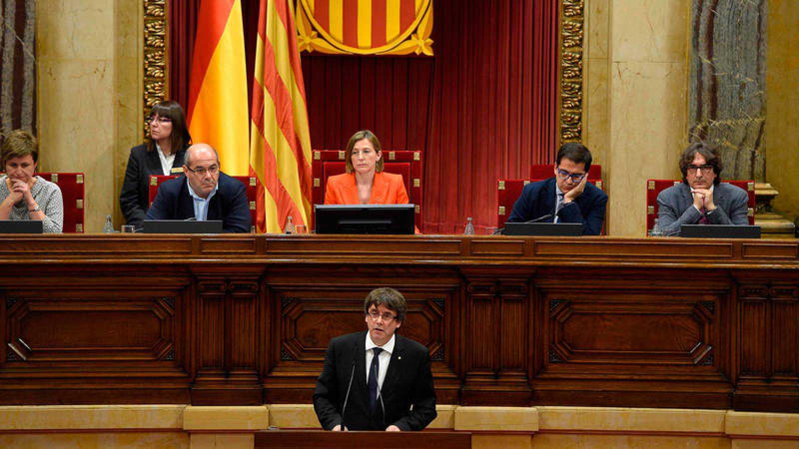 Carles Puigdemont, en su intervención ante el Parlament de Cataluña