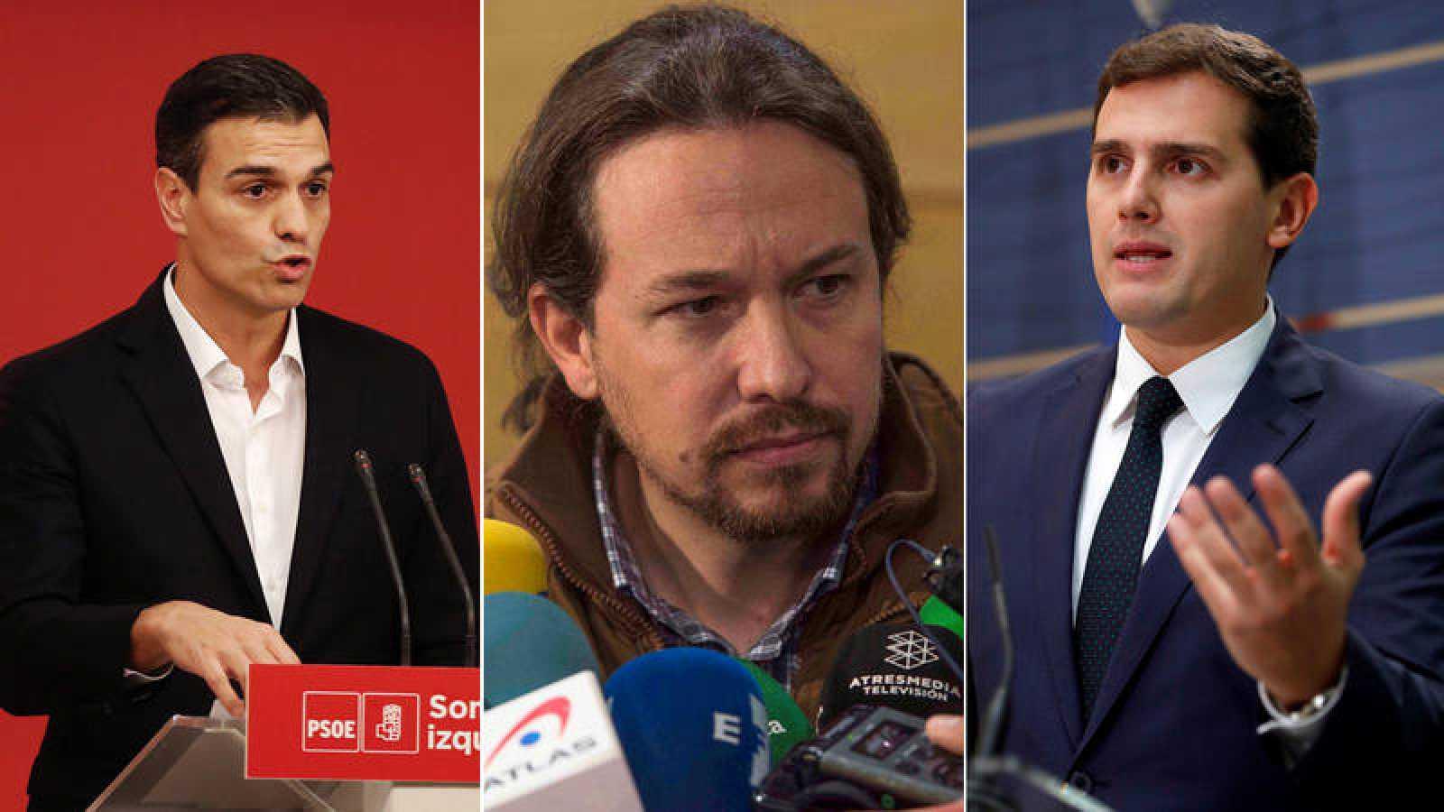 Los líderes de PSOE, Podemos y Ciudadanos, Pedro Sánchez, Pablo Iglesias y Albert Rivera
