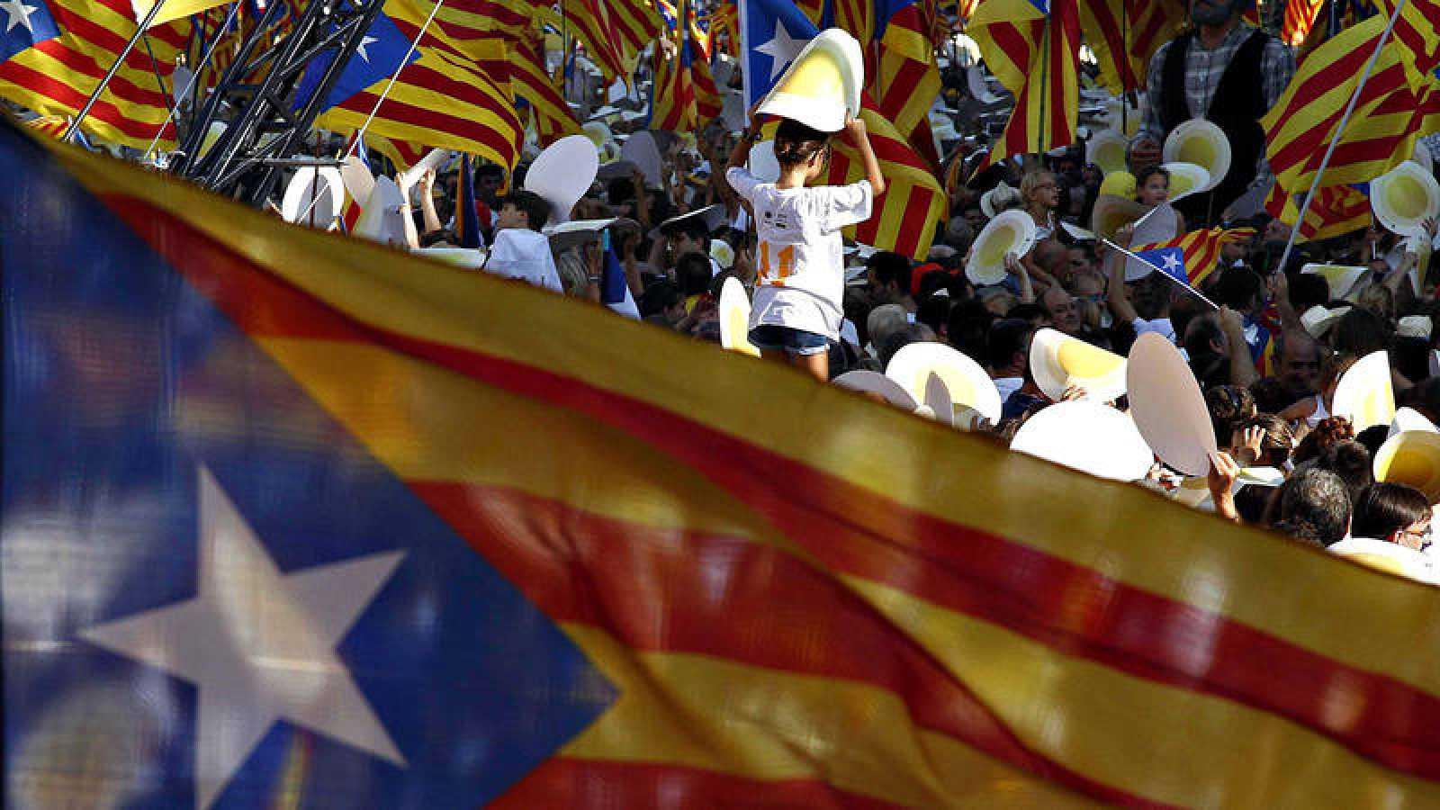 Concentración independentista durante la Díada en Barcelona