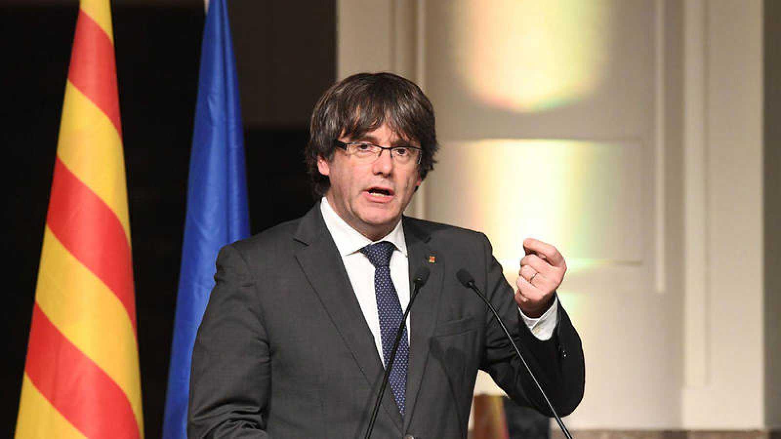El expresidente catalán Carles Puigdemont durante una intervención en Bruselas