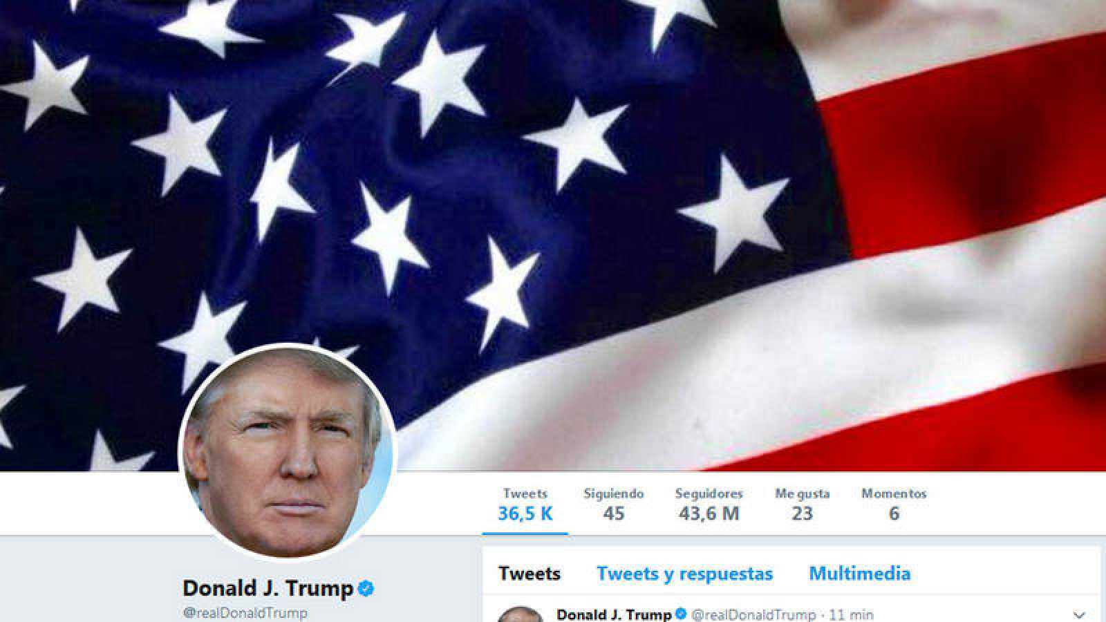 Captura de pantalla de la cuenta en Twitter de Donald Trump