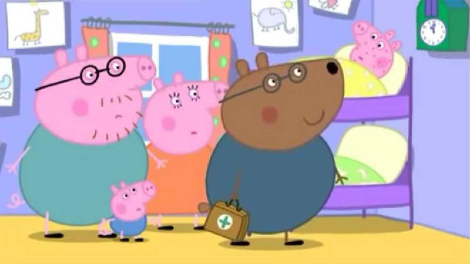 El doctor Brown Bear visita a Peppa Pig.