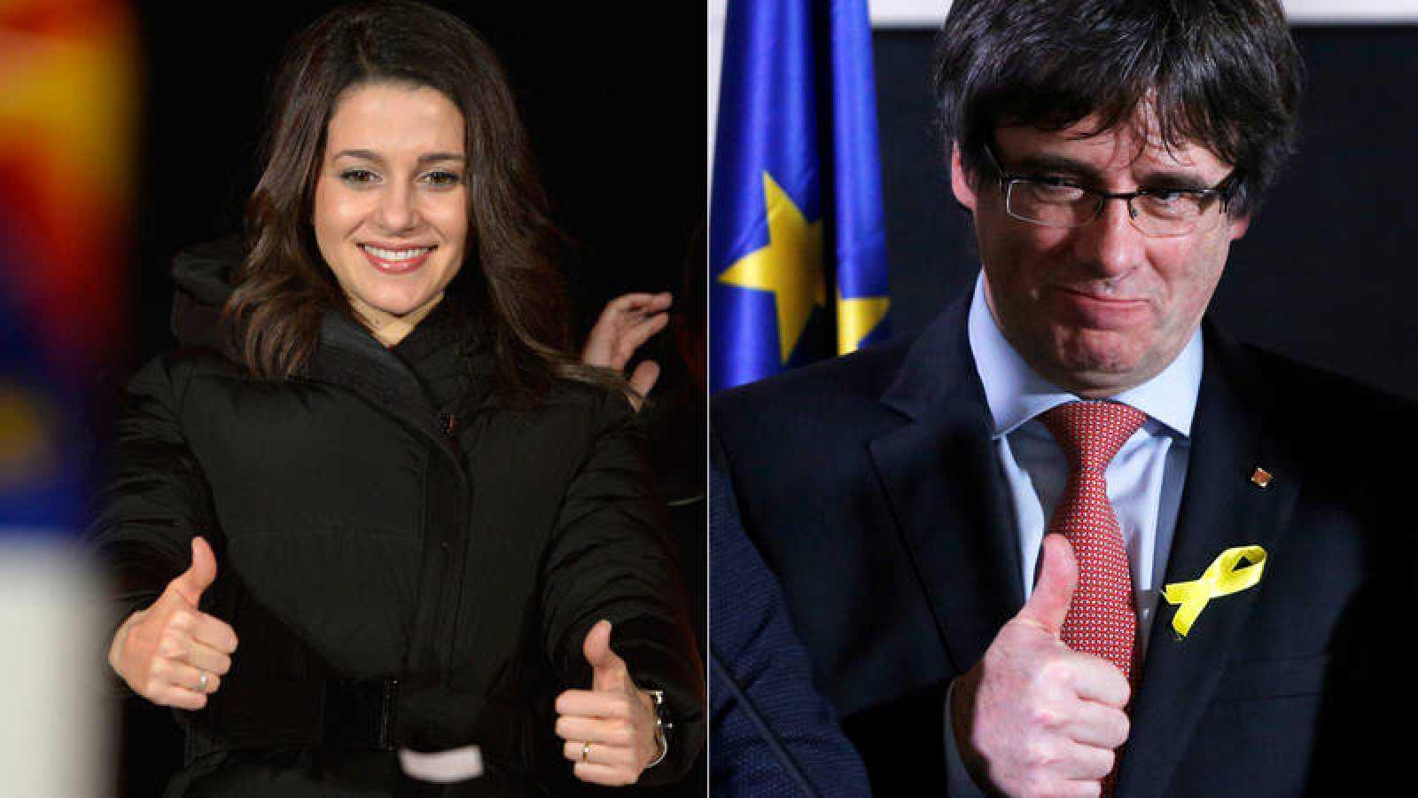 Inés Arrimadas, la líder de Cs, el partido más votado el 21-D; y Carles Puigdemont, cabeza de lista de JxCat, el candidato del bloque vencedor, el independentista