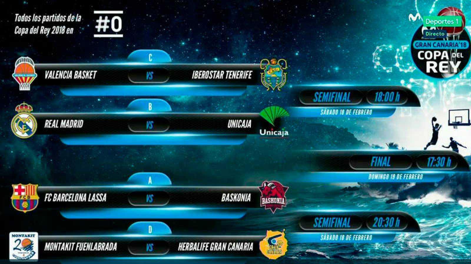 Baloncesto | Copa del Rey | Real Madrid-Unicaja, Barça-Baskonia ...