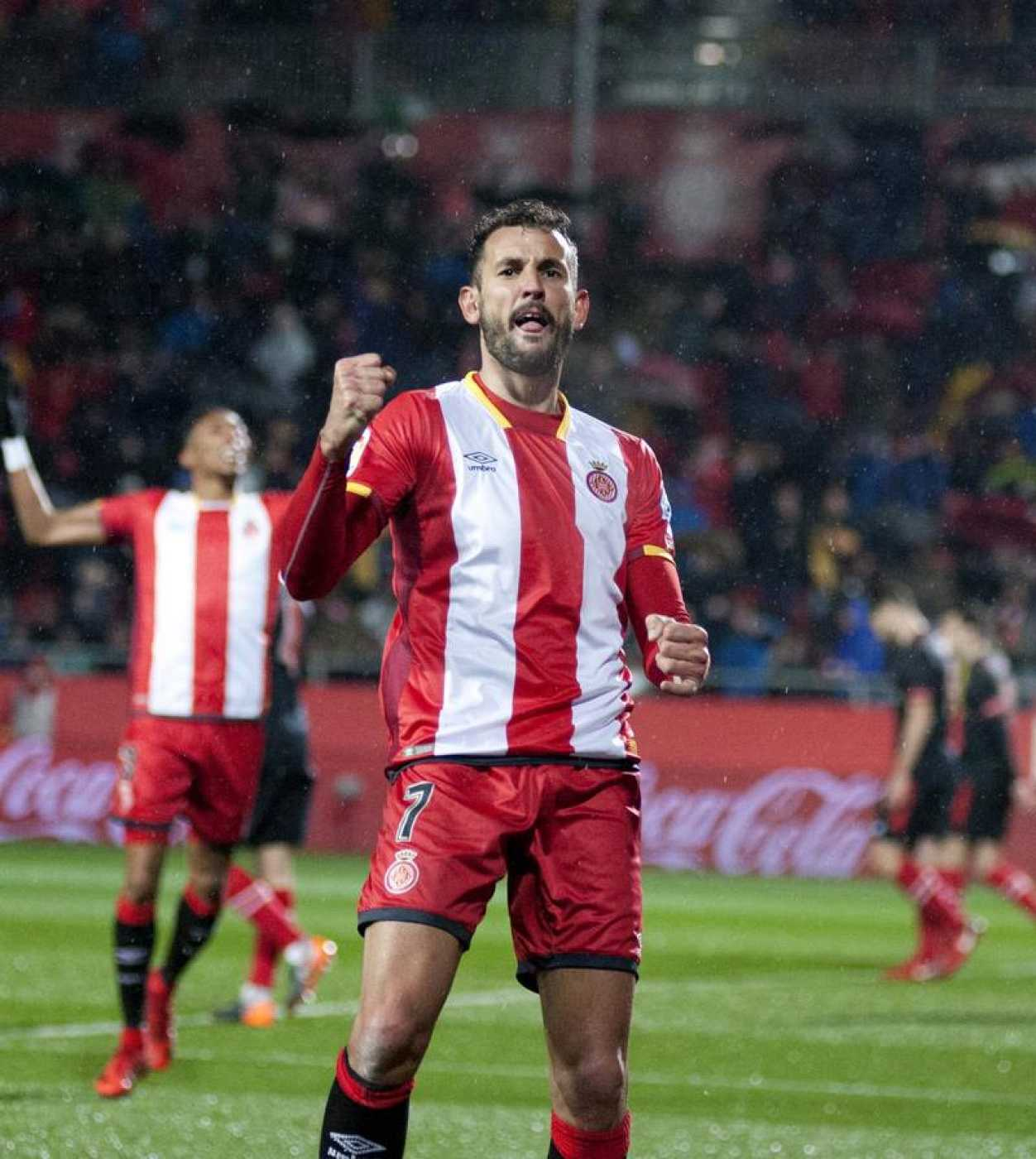 Cristhian Stuani celebra el segundo gol ante el Athletic de Bilbao.