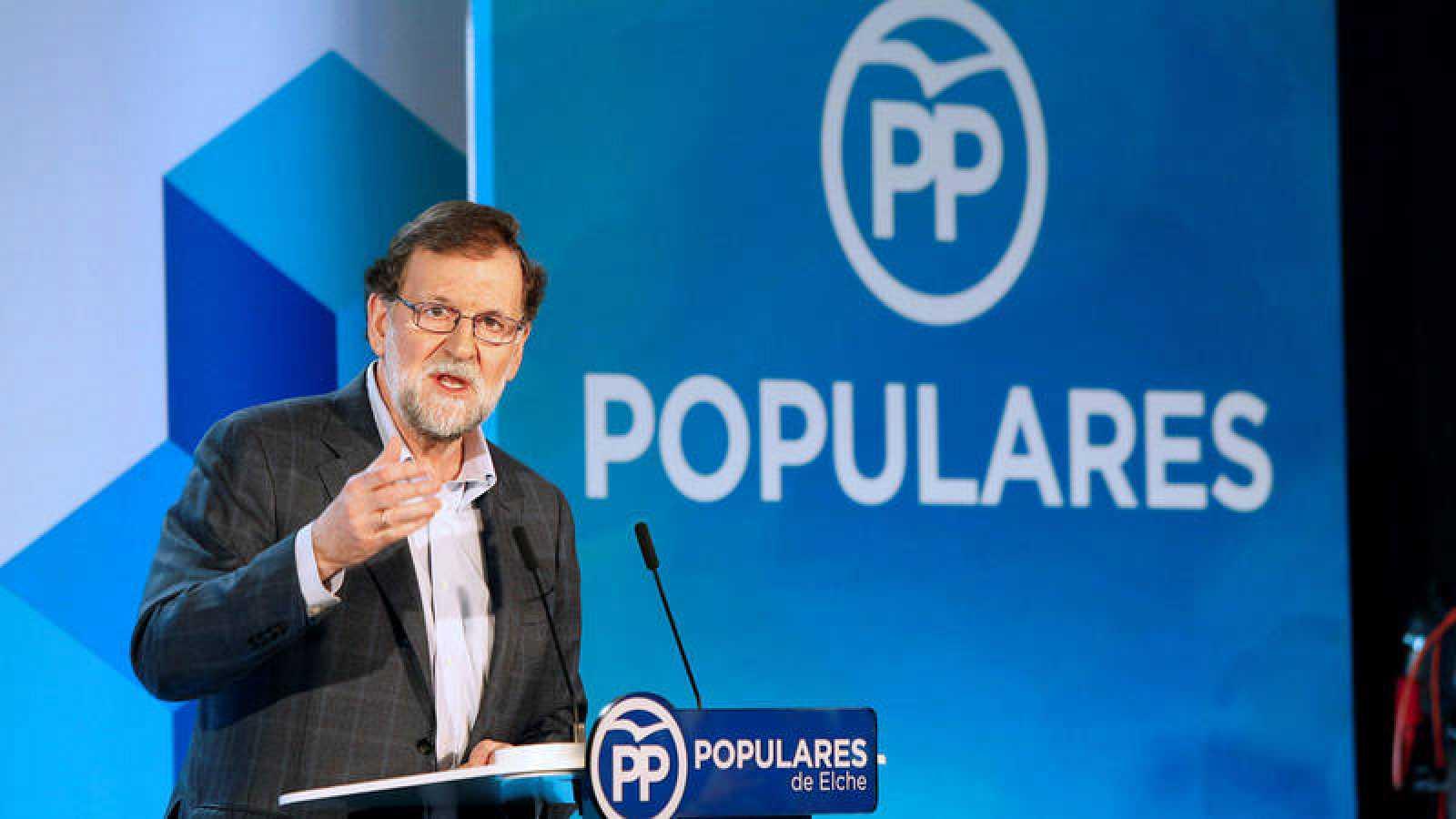 El presidente del Gobierno, Mariano Rajoy, durante su intervención en el Congreso Nacional de Pymes y Autónomos en Elche