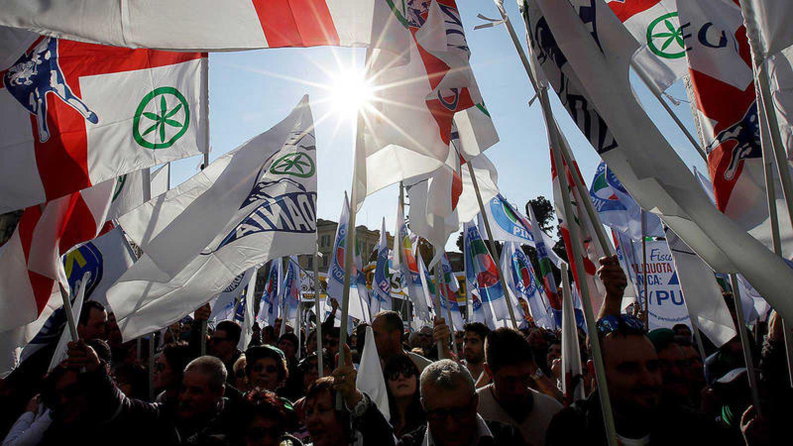 Partidarios de la Liga Norte en un mitin en Roma