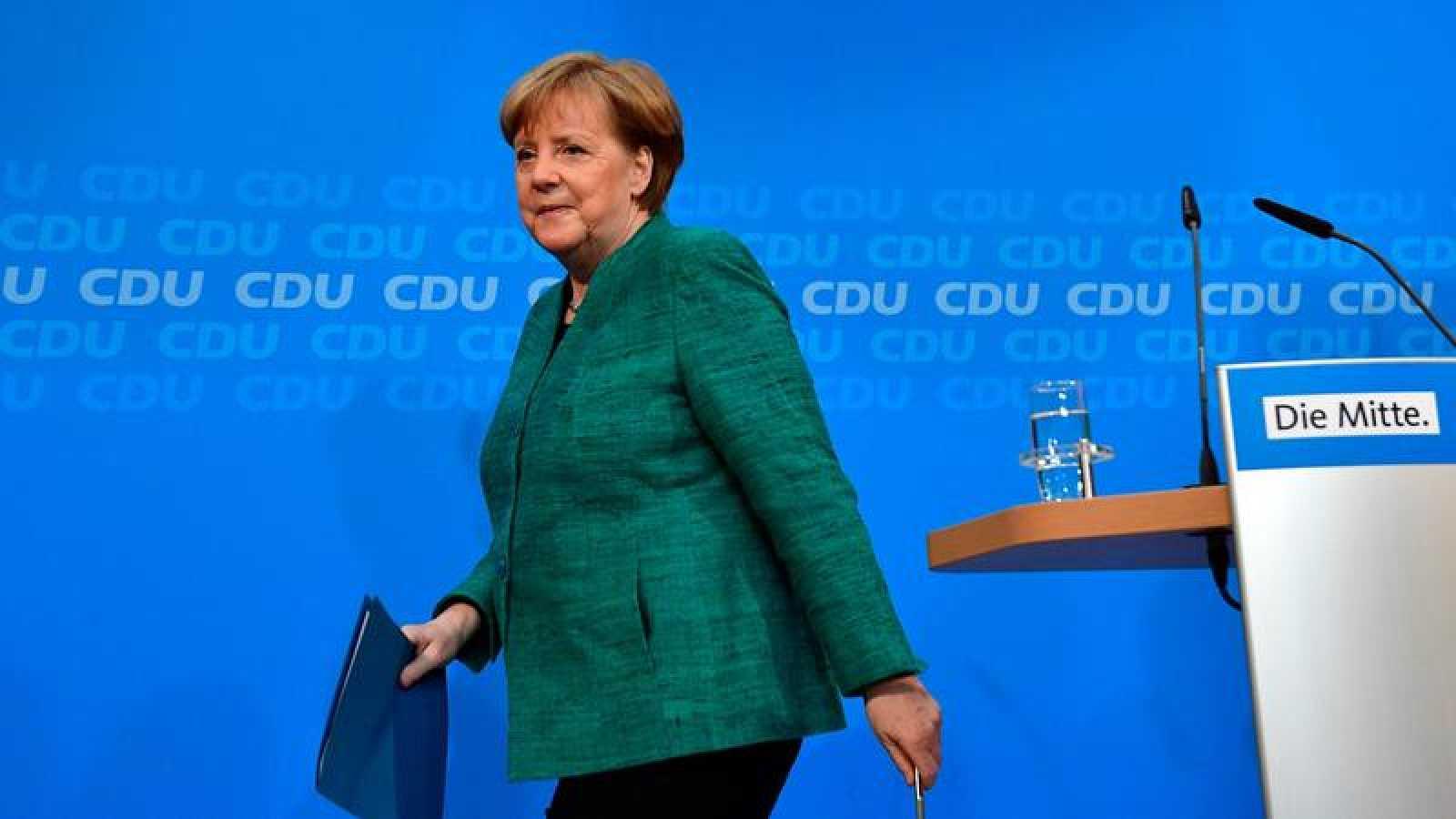 Angela Merkel, durante la presentación de su Gobierno en Berlín