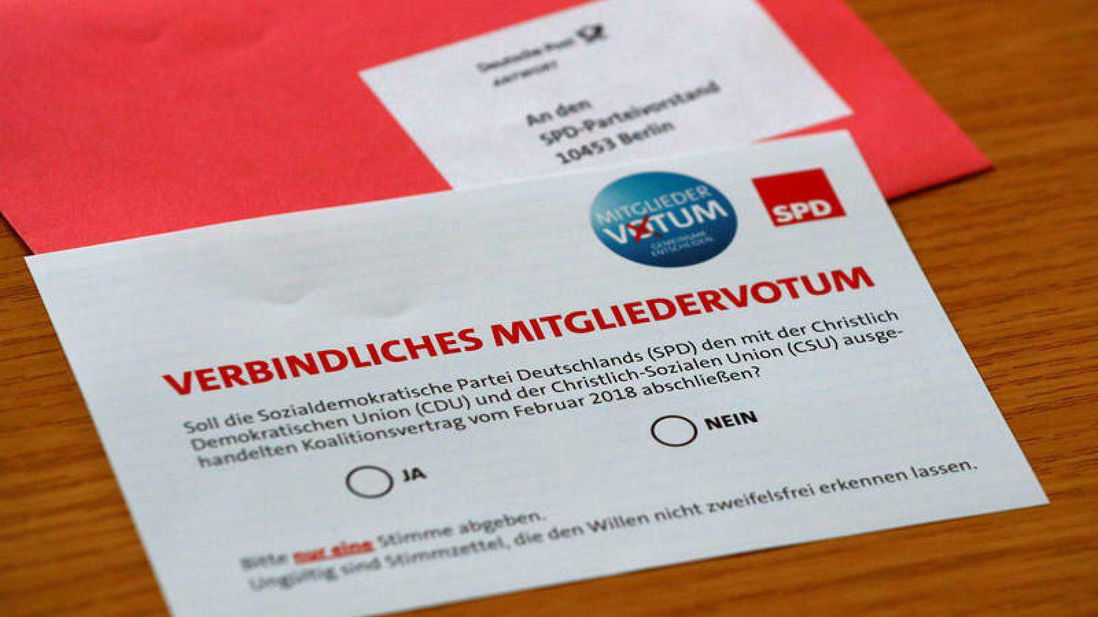 Papeleta del SPD de la consulta a sus militantes sobre el pacto de gobierno con Merkel
