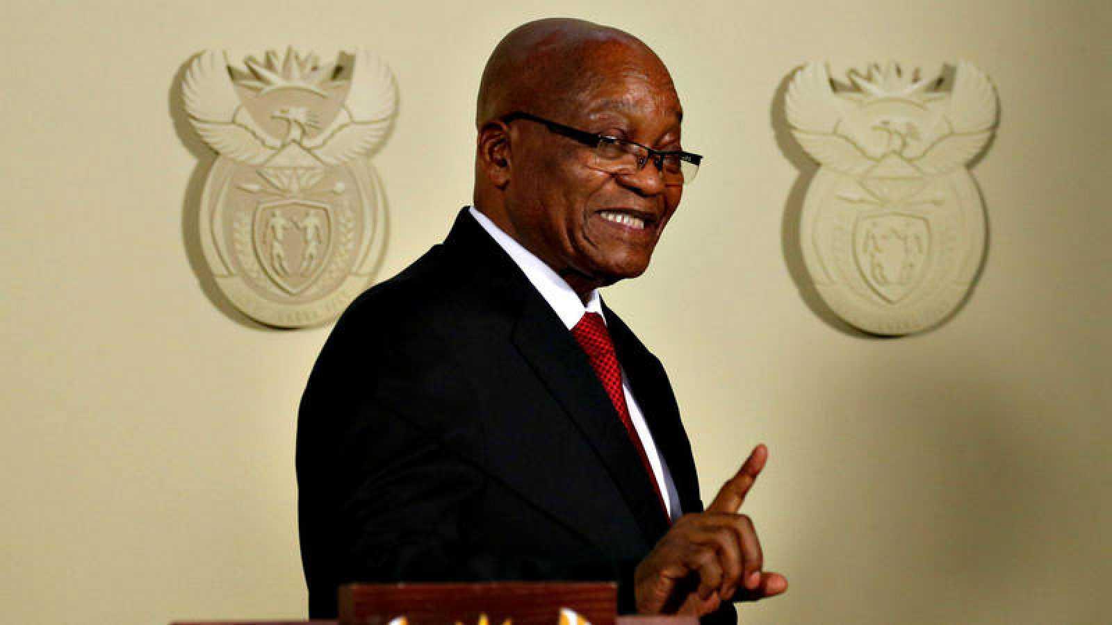 El expresidente de Sudáfrica, Jacob Zuma, tras anunciar su renuncia al cargo