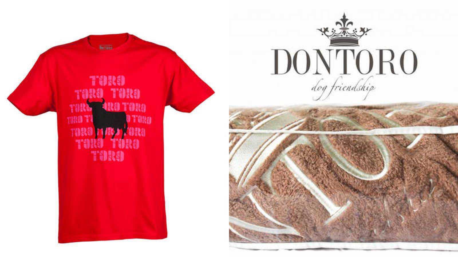 Una camiseta de Osborne y una manta de la marca 'Don Toro'
