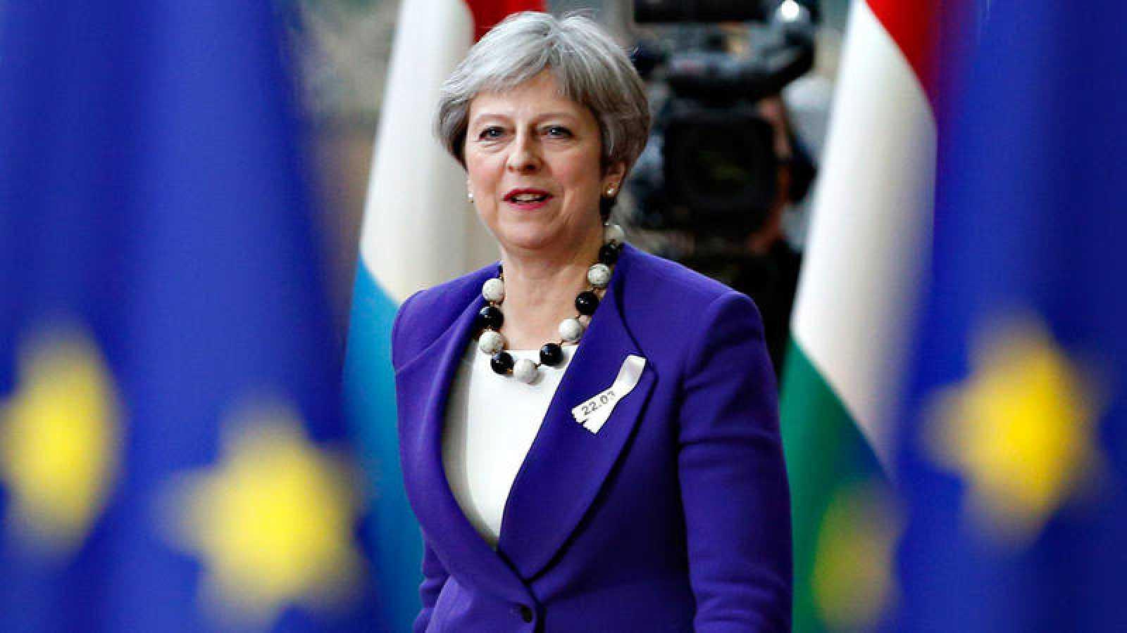 La primera ministra británica, Theresa May, a su llegada a la cumbre de Bruselas