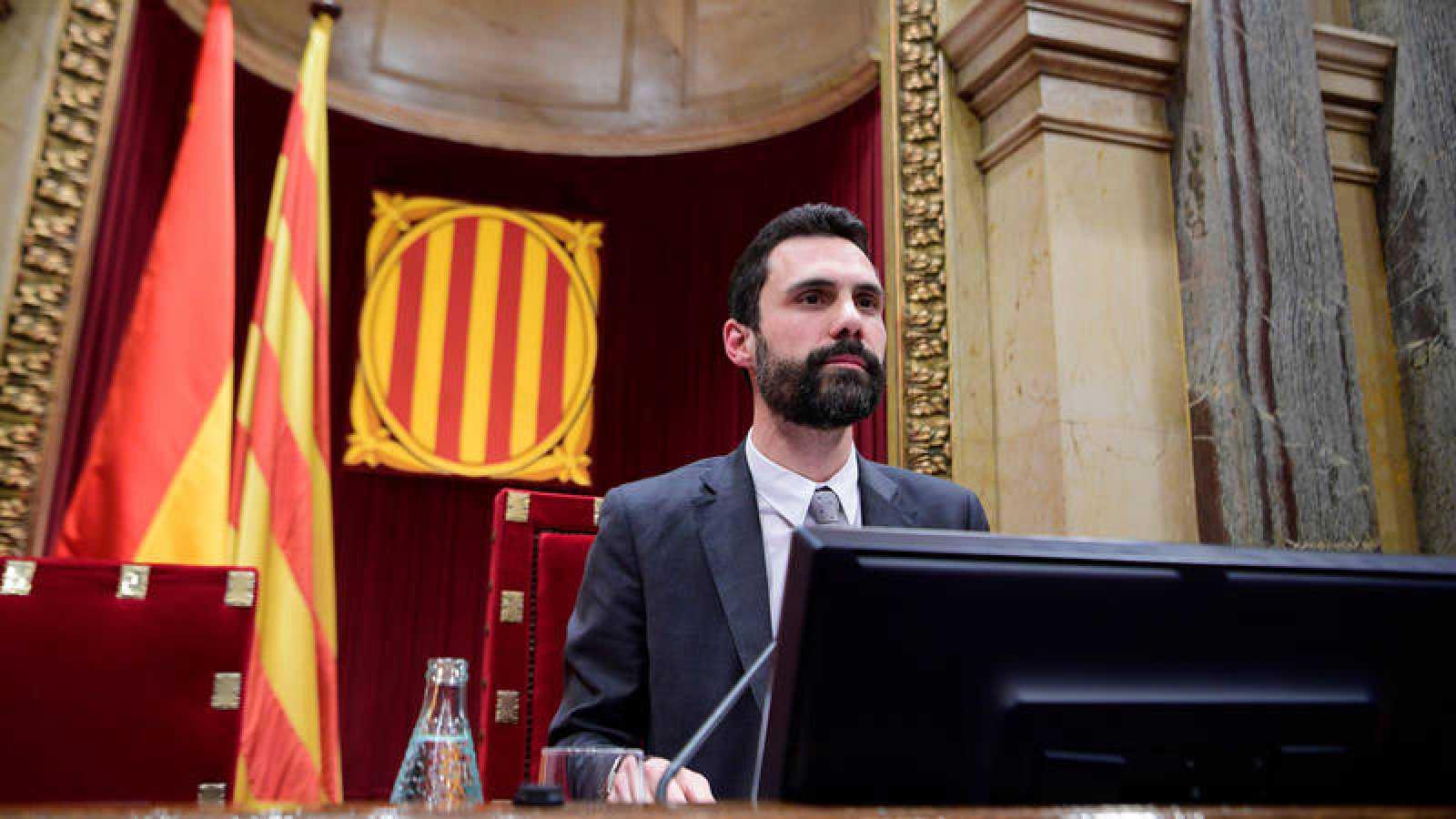 El presidente del Parlamento catalán Rogert Torrent, en la pasada sesión de investidura