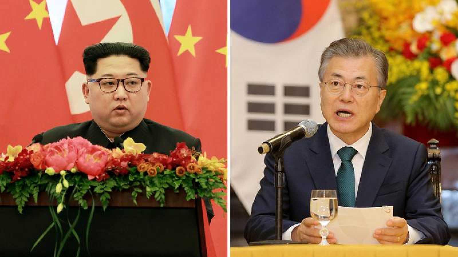 El líder norcoreano, Kim Jong-un, y el presidente surcoreano, Moon Jae-in