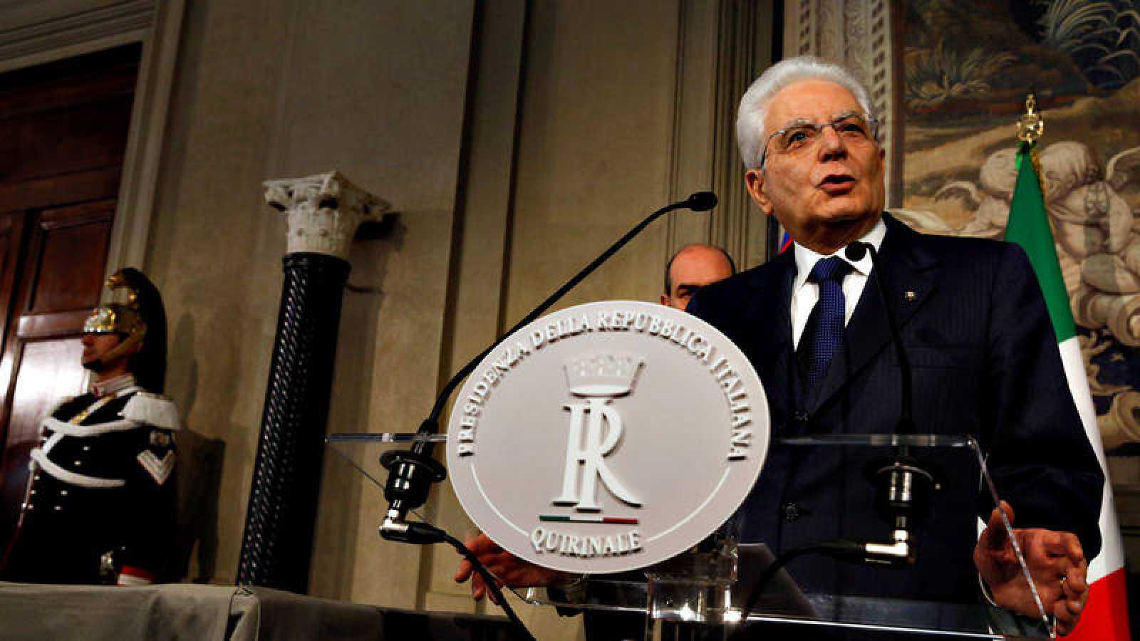 El presidente de la República de Italia, Sergio Mattarella, tras cerrar la primera ronda de consultas para formar gobierno