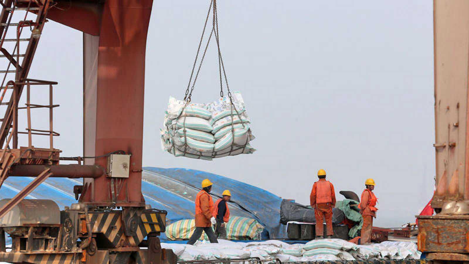 Operarios mientras transportan bolsas de habas de soja en un puerto en Nantong (China)