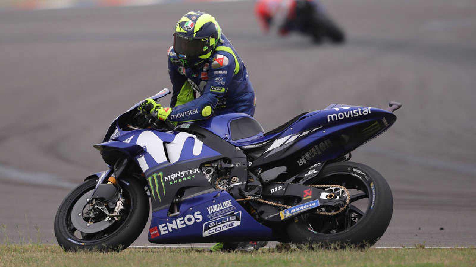 Valentino Rossi, tras su caída en el GP de Argentina
