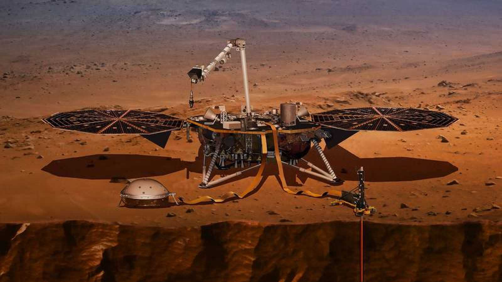Ilustración facilitada por la NASA de la tecnología de la misión InSight en Marte