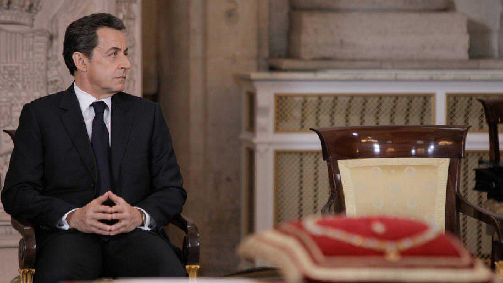 El expresidente francés, Nicolas Sarkozy, durante el acto de imposición del Collar de la Orden del Toisón de Oro en enero de 2012