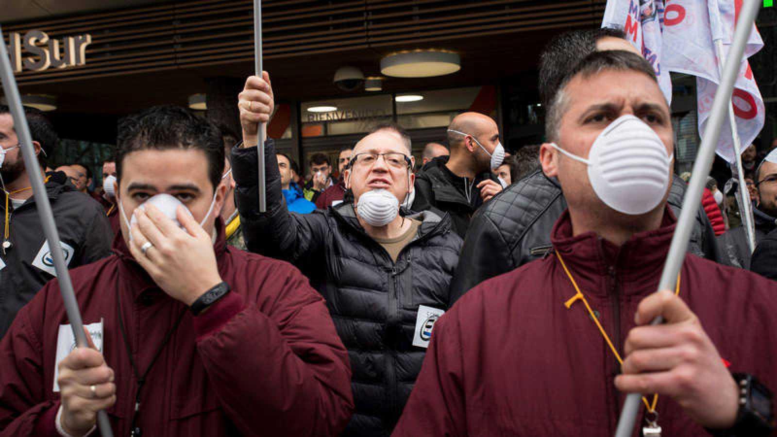 Manifestación de los maquinistas de Metro en una de las tres jornadas de paros convocados el pasado marzo