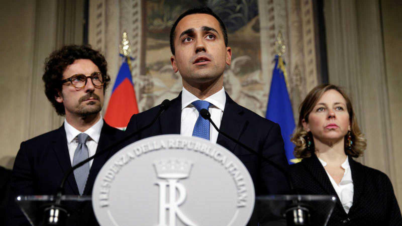 Luigi Di Maio, líder del M5S durante la rueda de prensa en Roma