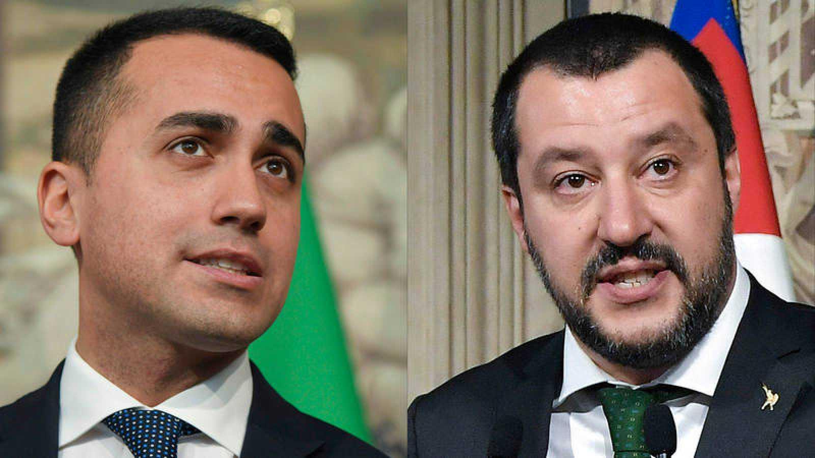Los líderes del M5S, Luigi di Maio, y la Liga Norte, Matteo Salvini