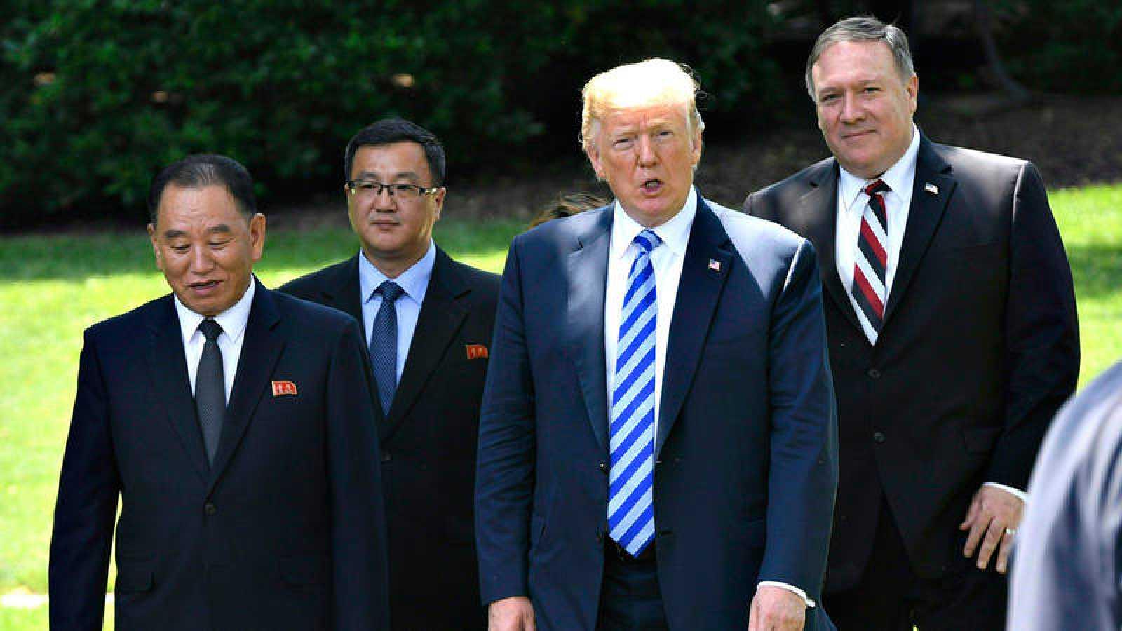 El presidente de EE.UU., Donald Trump, recibe en la Casa Blanca al 'número dos' de Corea del Norte, Kim Yong-chol