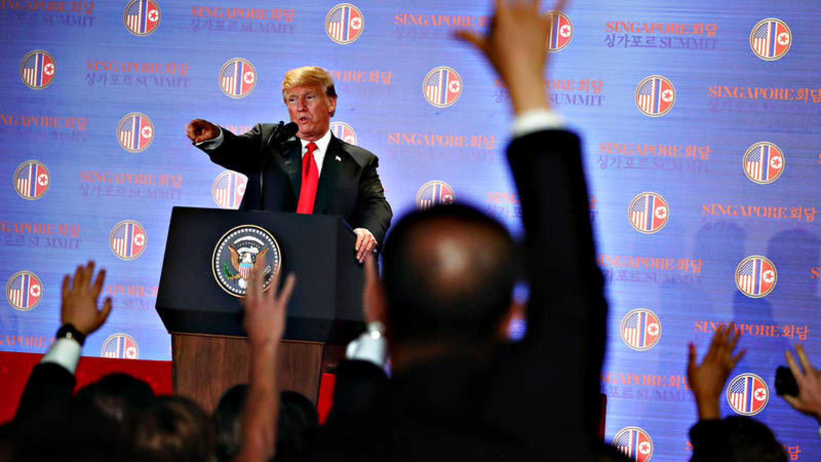 El presidente de Estados Unidos, Donald Trump, en la rueda de prensa posterior al encuentro con Kim Jong-un
