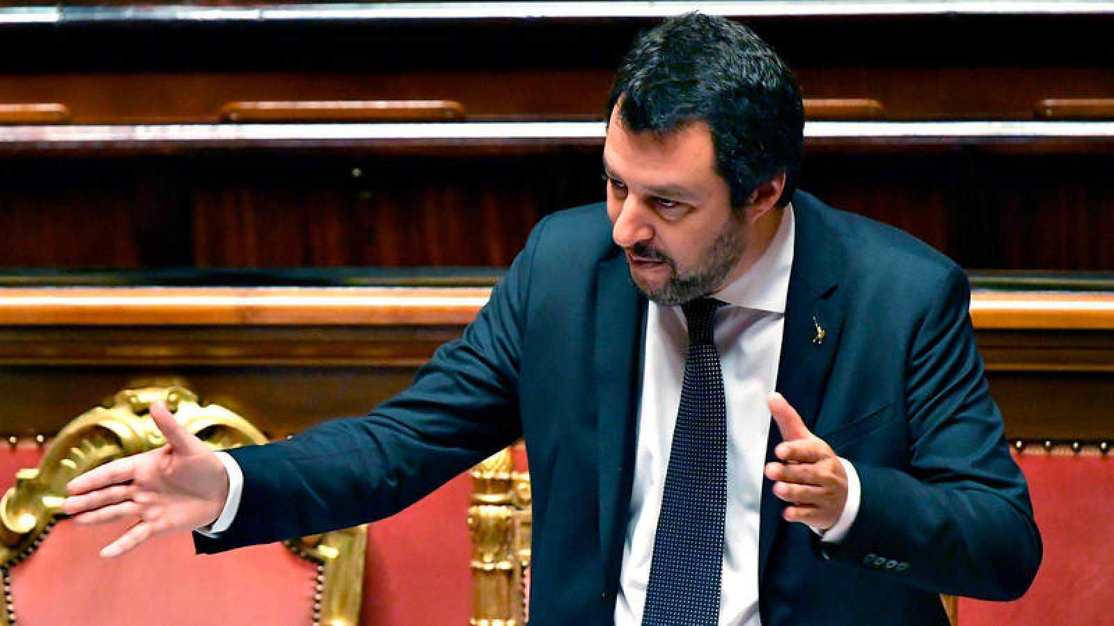 El vicepresidente y ministro de Interior de Italia, Matteo Salvini, habla sobre el Aquarius en el Senado