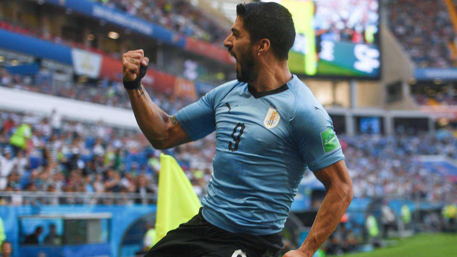 Luis Suárez celebra su gol a Arabia Saudí.