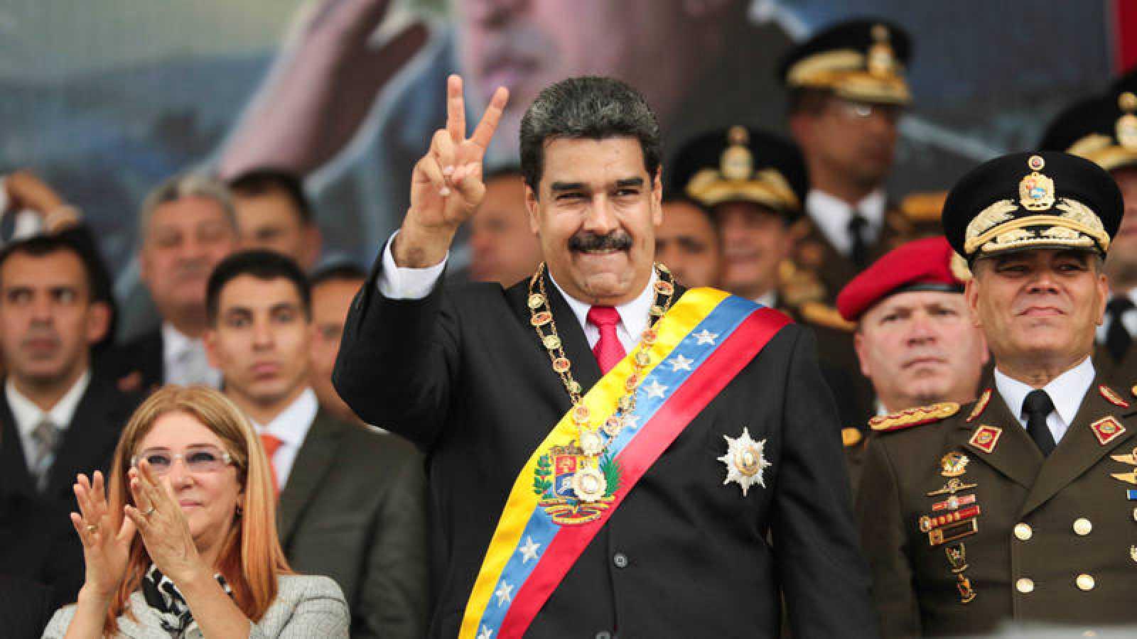 El presidente venezolano, Nicolás Maduro, durante un desfile militar el domingo