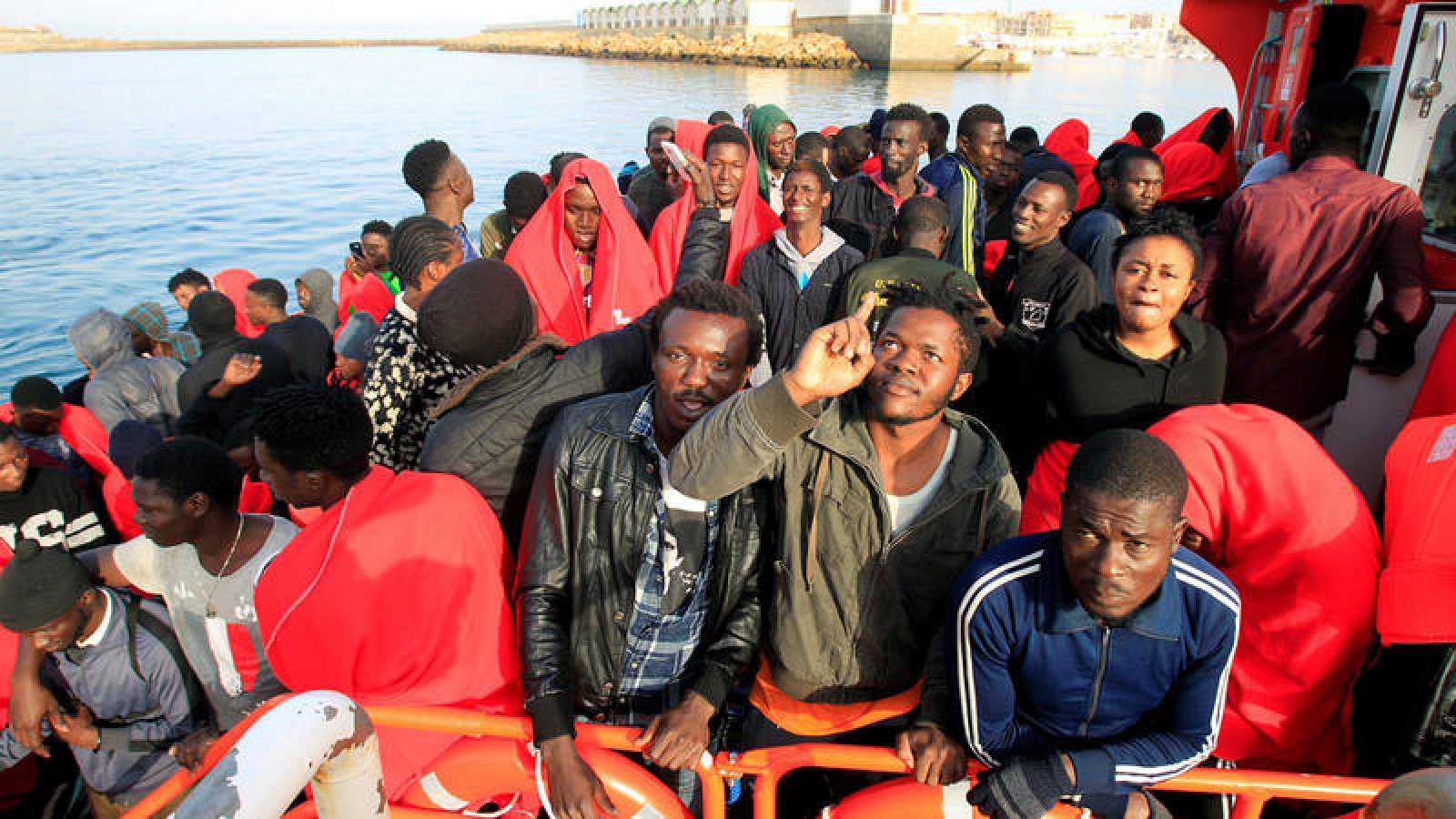 Migrantes rescatados por Salvamento Marítimo en el Estrecho de Gibraltar el domingo
