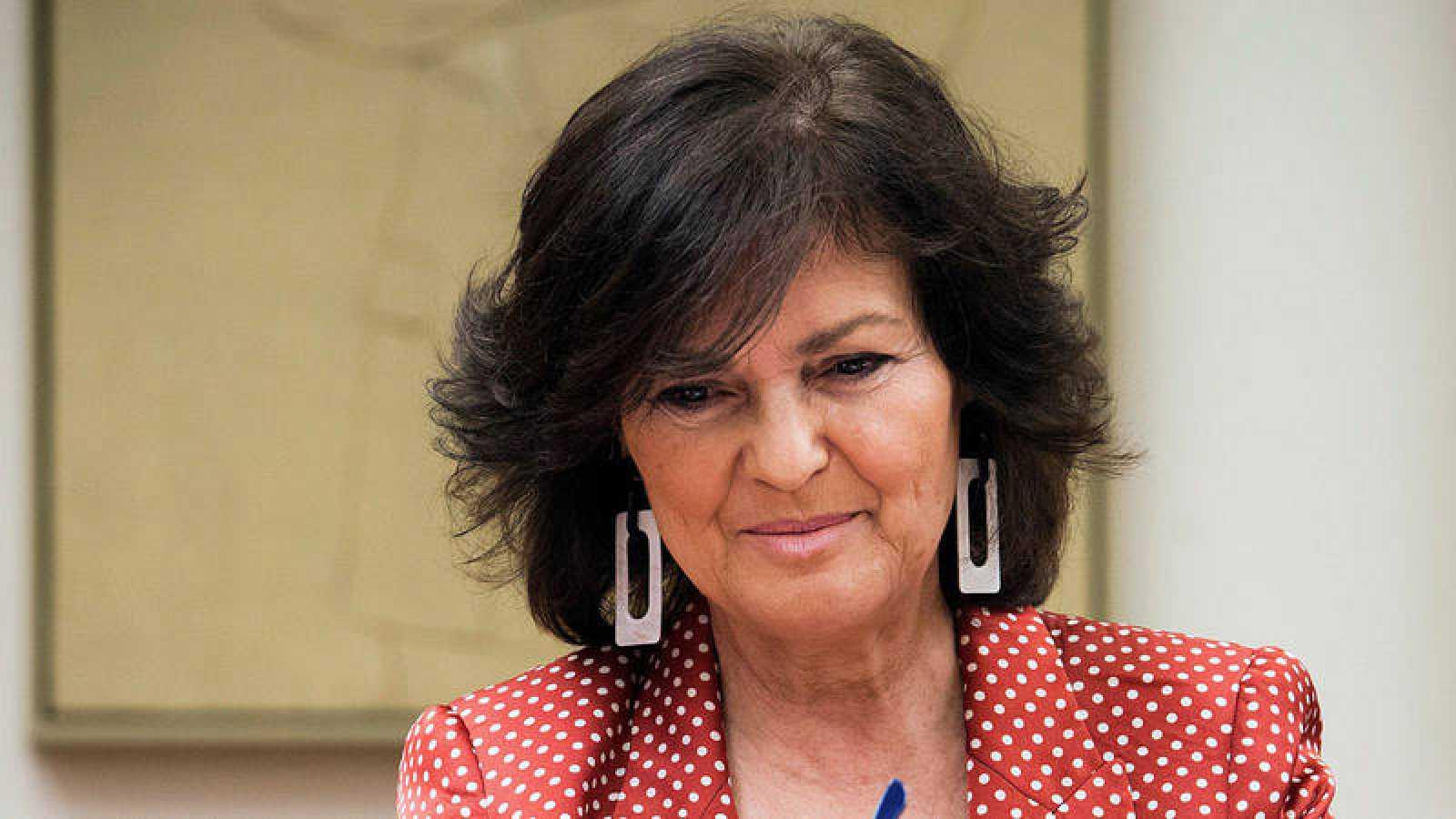 La vicepresidenta del Gobierno Carmen Calvo en el Congreso