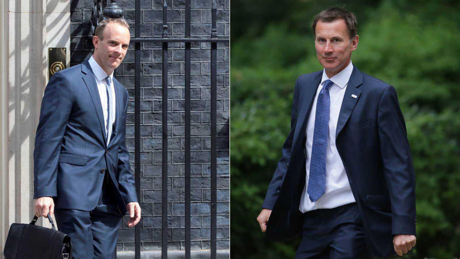 Dominic Raab, nuevo ministro británico para negociar el 'Brexit', y Jeremy Hunt, nuevo titular de Exteriores.