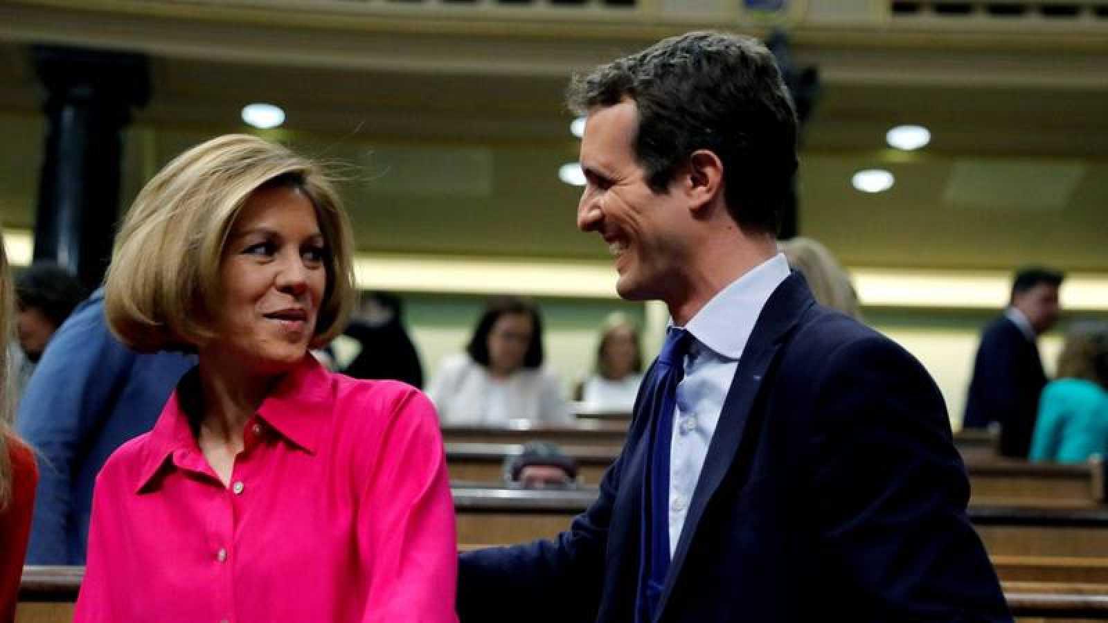 Cospedal y Casado, en el Congreso de los Diputados.