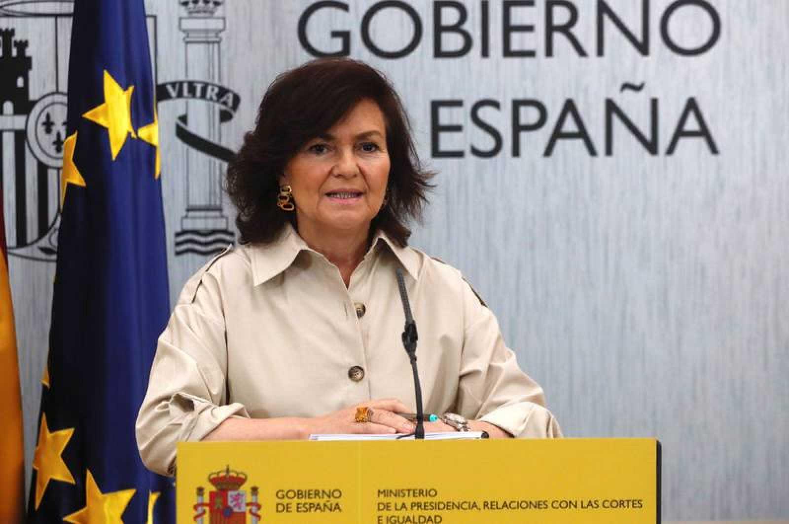 La vicepresidenta del Gobierno, Carmen Calvo, durante la rueda de prensa.