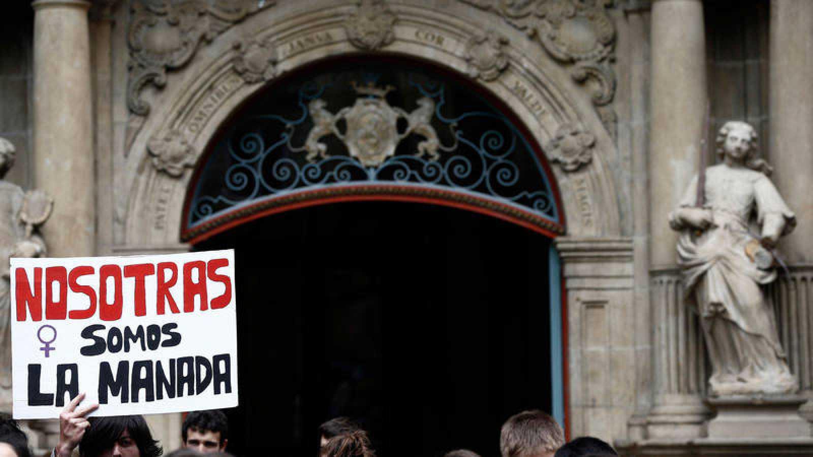 Imagen de archivo de una manifestación en Pamplona contra la sentencia de 'La Manada'