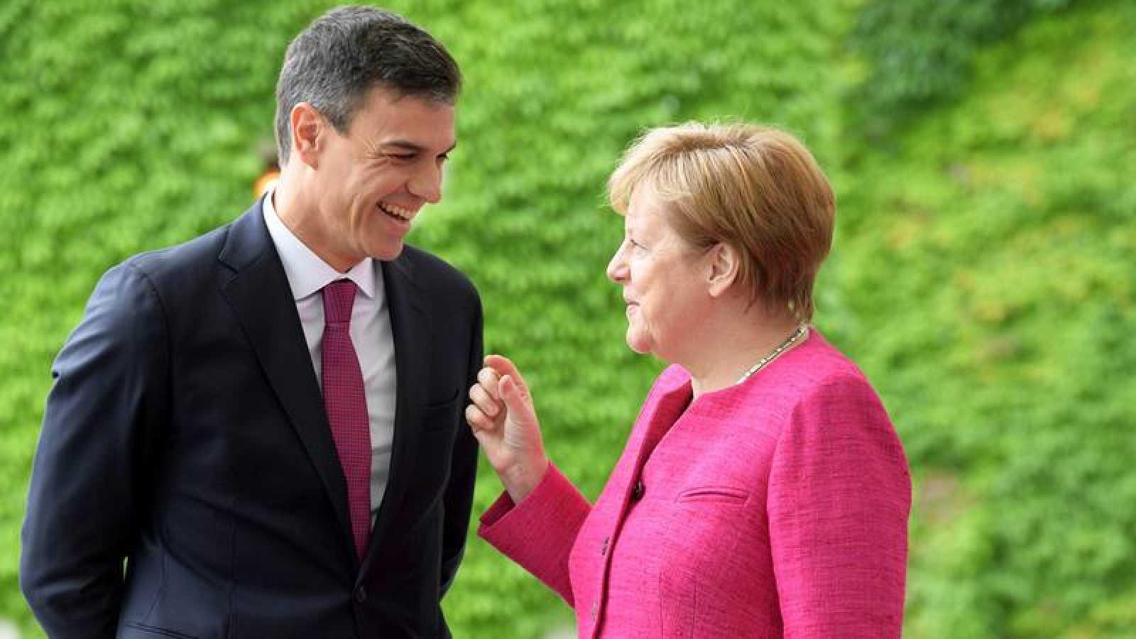 Pedro Sánchez y Angela Merkel, durante su primera reunión en Berlín en junio